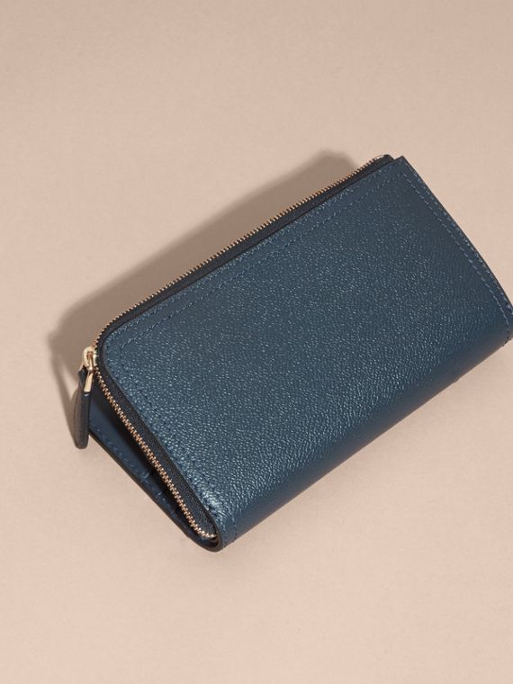 Grainy Leather Ziparound Wallet in Blue Carbon - Women | Burberry Canada - cell image 3