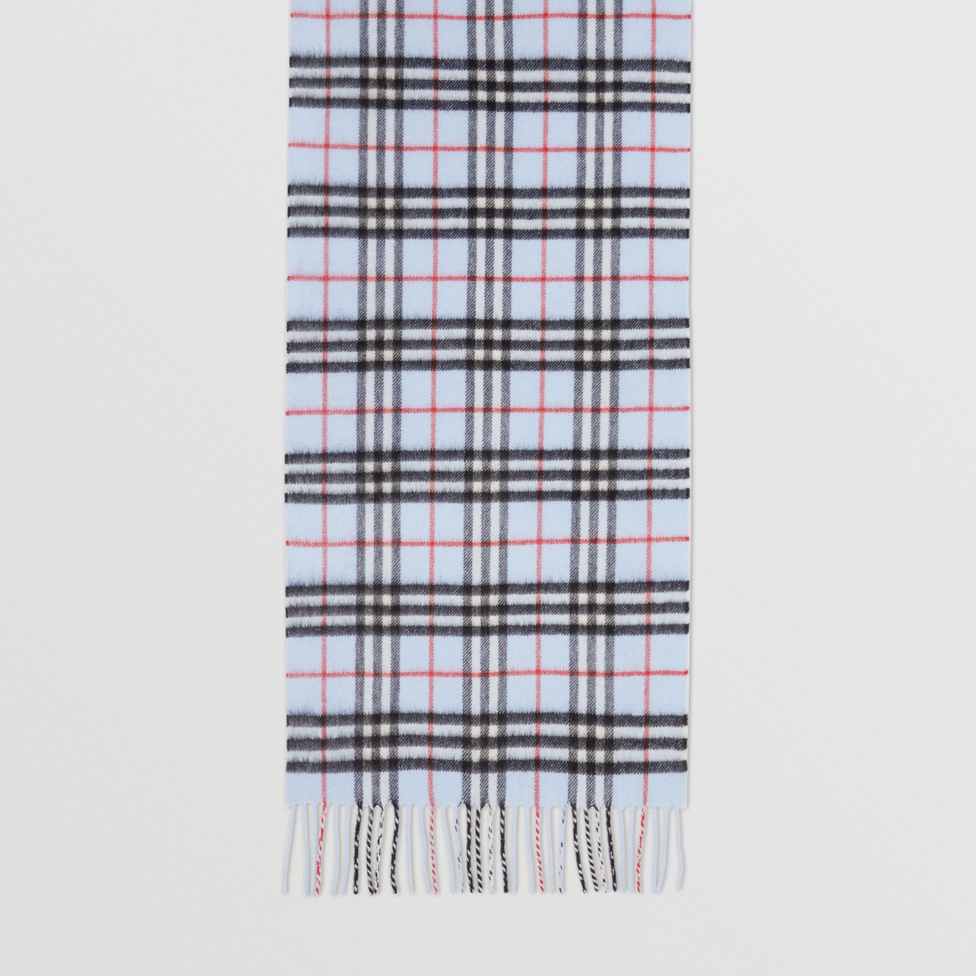 The Classic Vintage Check Cashmere Scarf in Pale Blue | Burberry Canada - gallery image 4