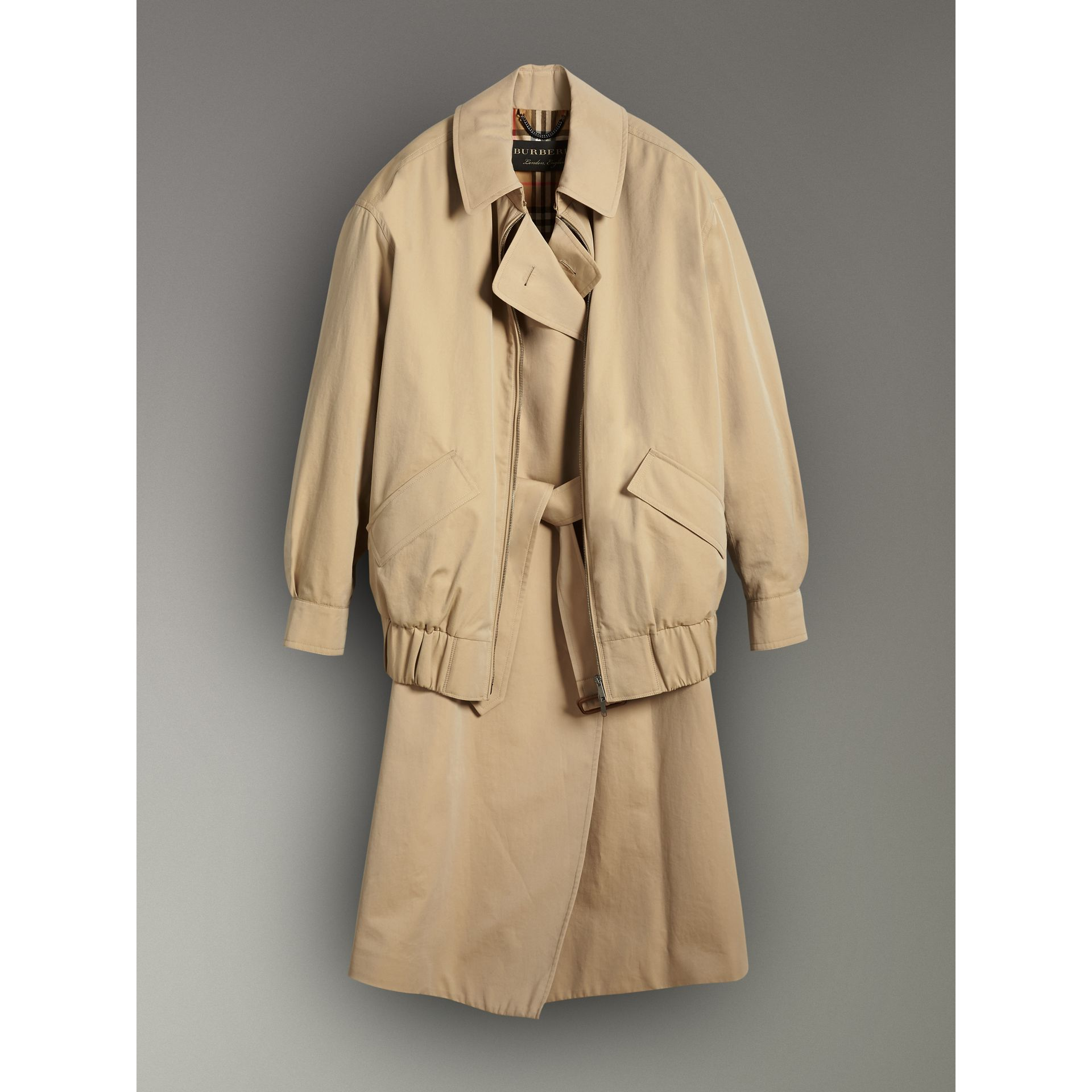 Tropical Gabardine Reconstructed Harrington Jacket in Honey - Women | Burberry United Kingdom - gallery image 3