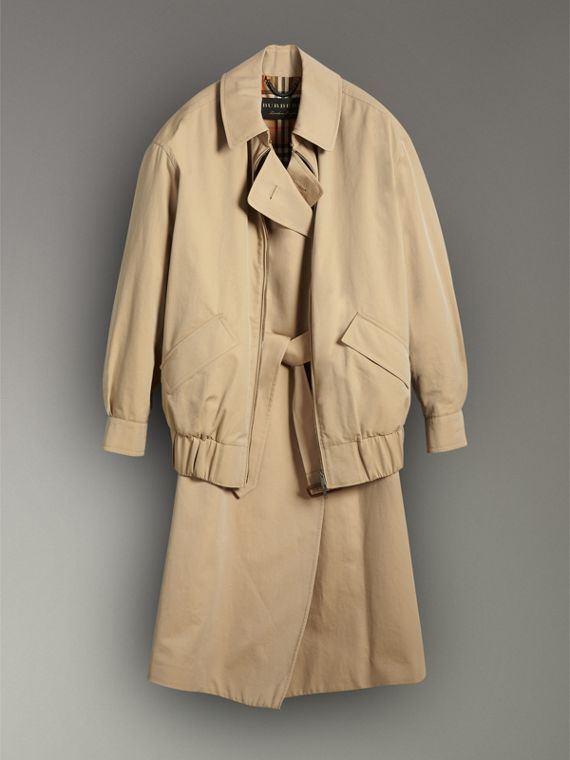 Tropical Gabardine Reconstructed Harrington Jacket in Honey - Women | Burberry - cell image 3