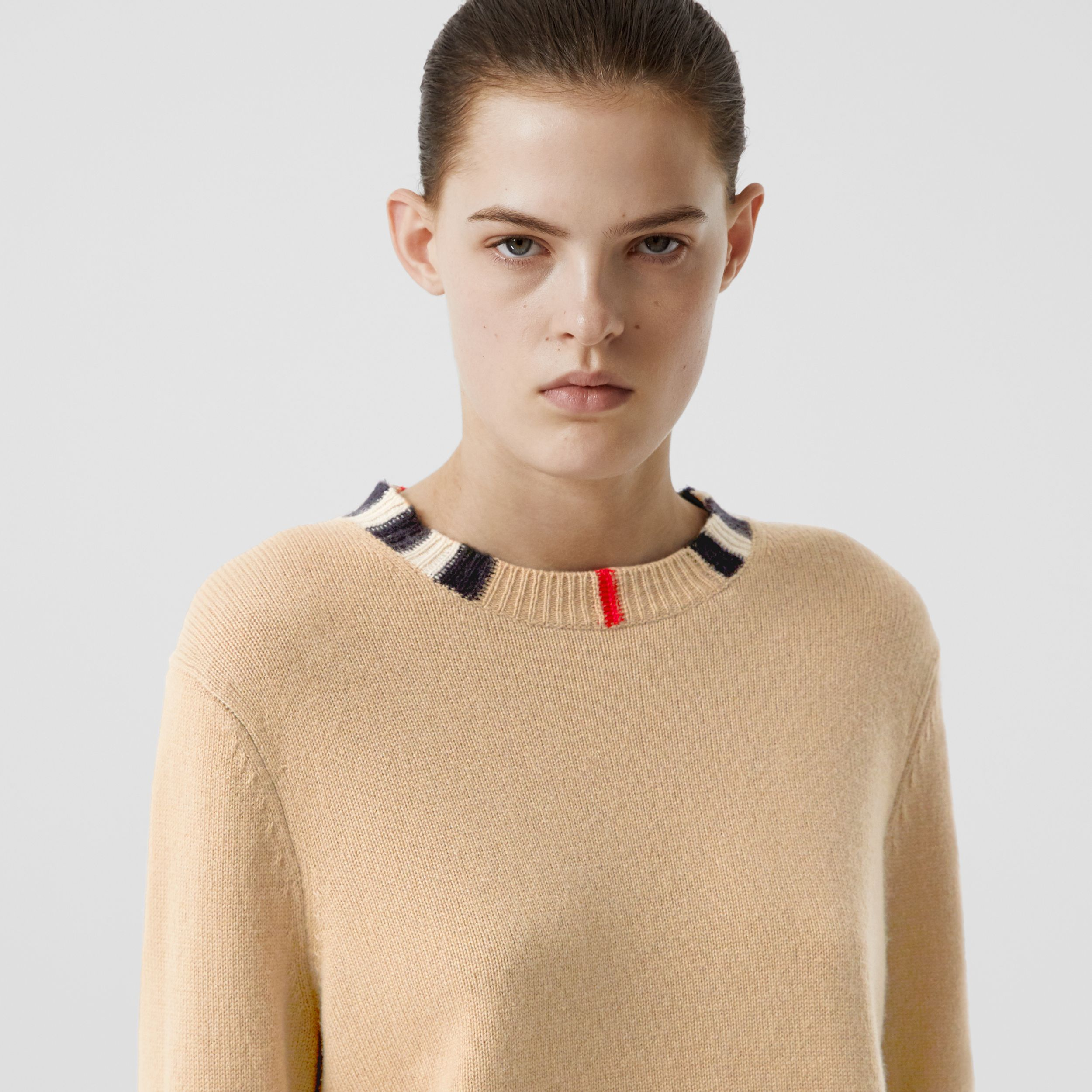 Icon Stripe Trim Cashmere Sweater in Archive Beige - Women | Burberry - 2