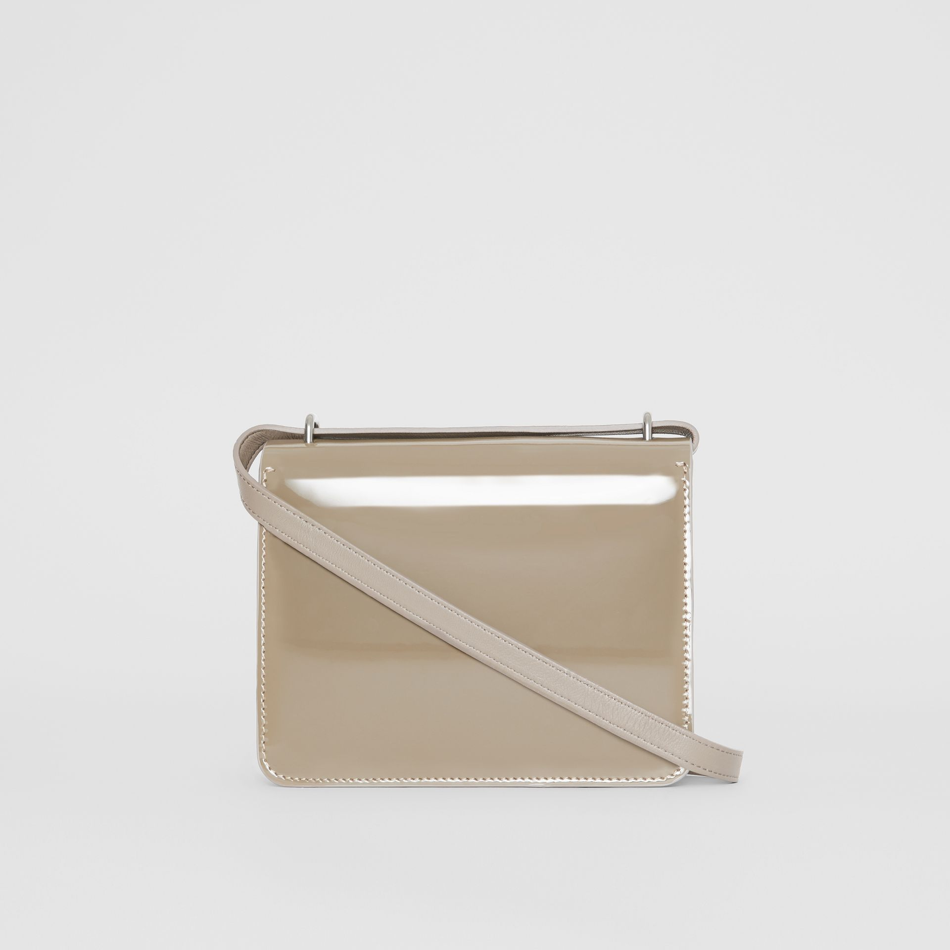 The Small Patent Leather D-ring Bag in Taupe Grey - Women | Burberry - gallery image 7