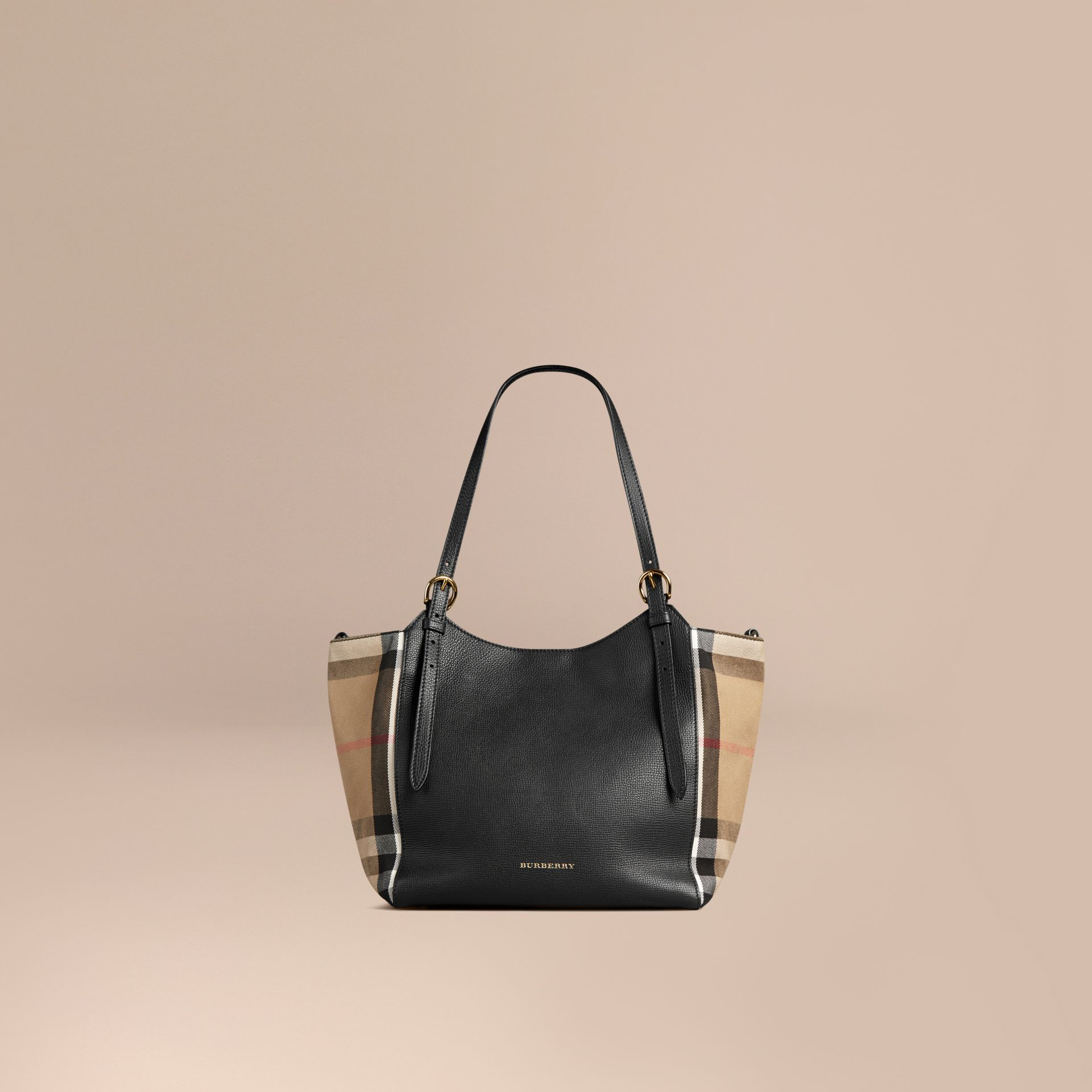 Petit sac The Canter en cuir avec motif House check Noir - photo de la galerie 1