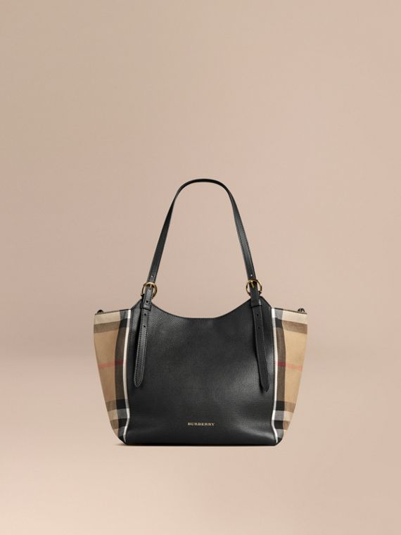 The Small Canter in Leather and House Check Black