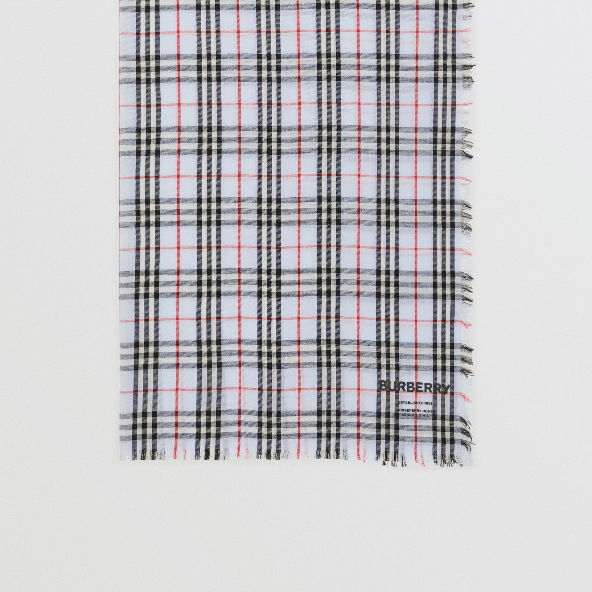 Embroidered Vintage Check Lightweight Cashmere Scarf in Pale Blue | Burberry United Kingdom - gallery image 4