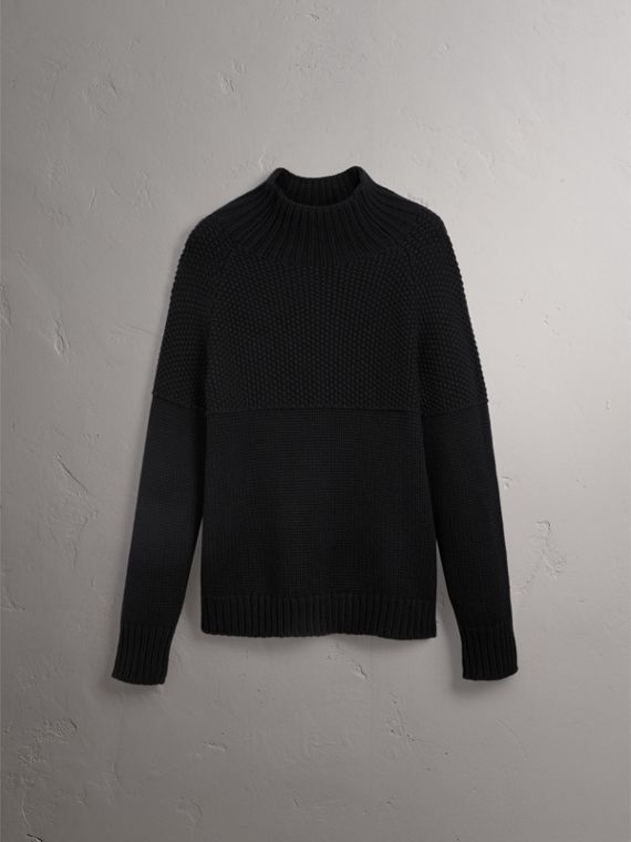 Cashmere Fisherman Sweater in Black
