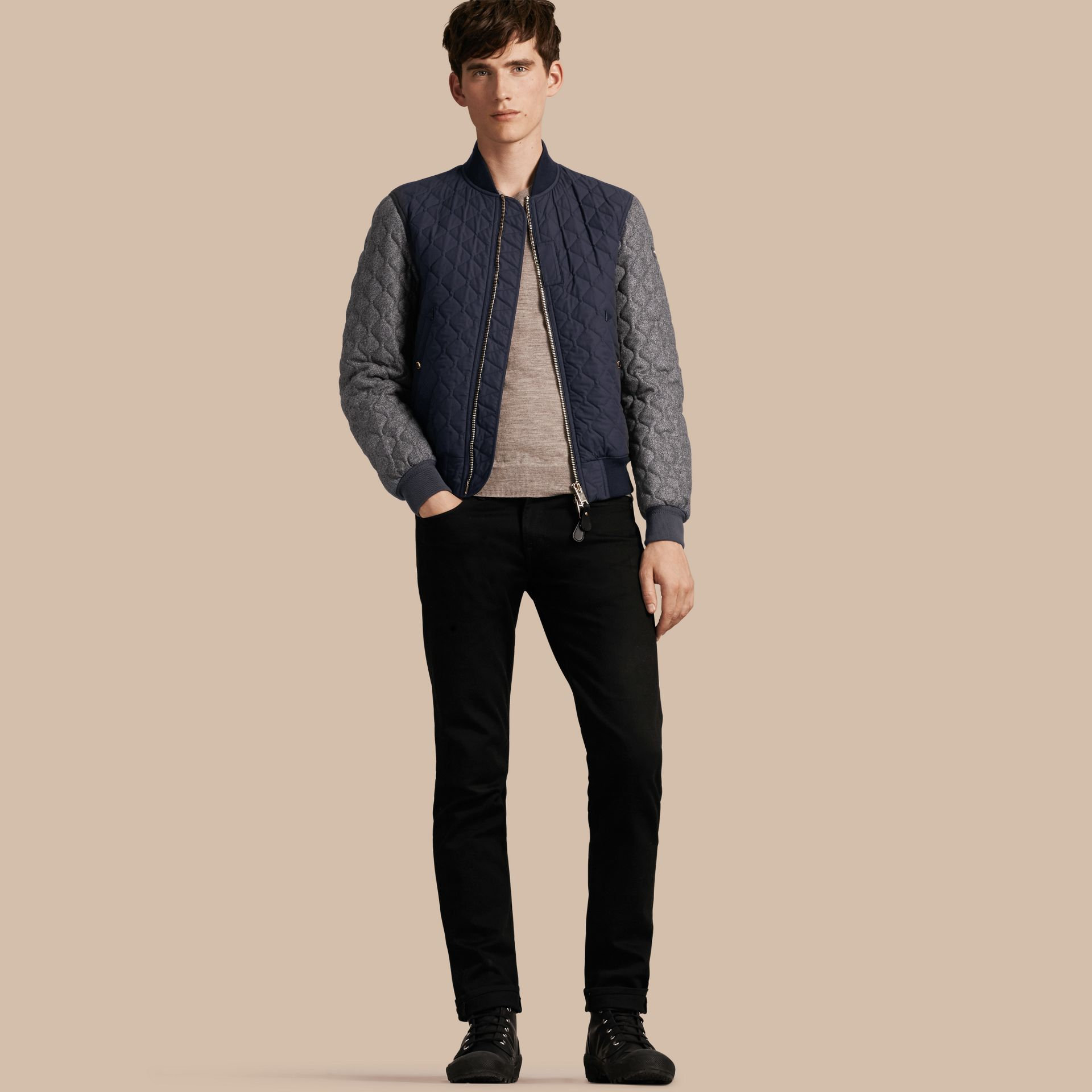 Navy Quilted Cotton and Wool Bomber Jacket - gallery image 1