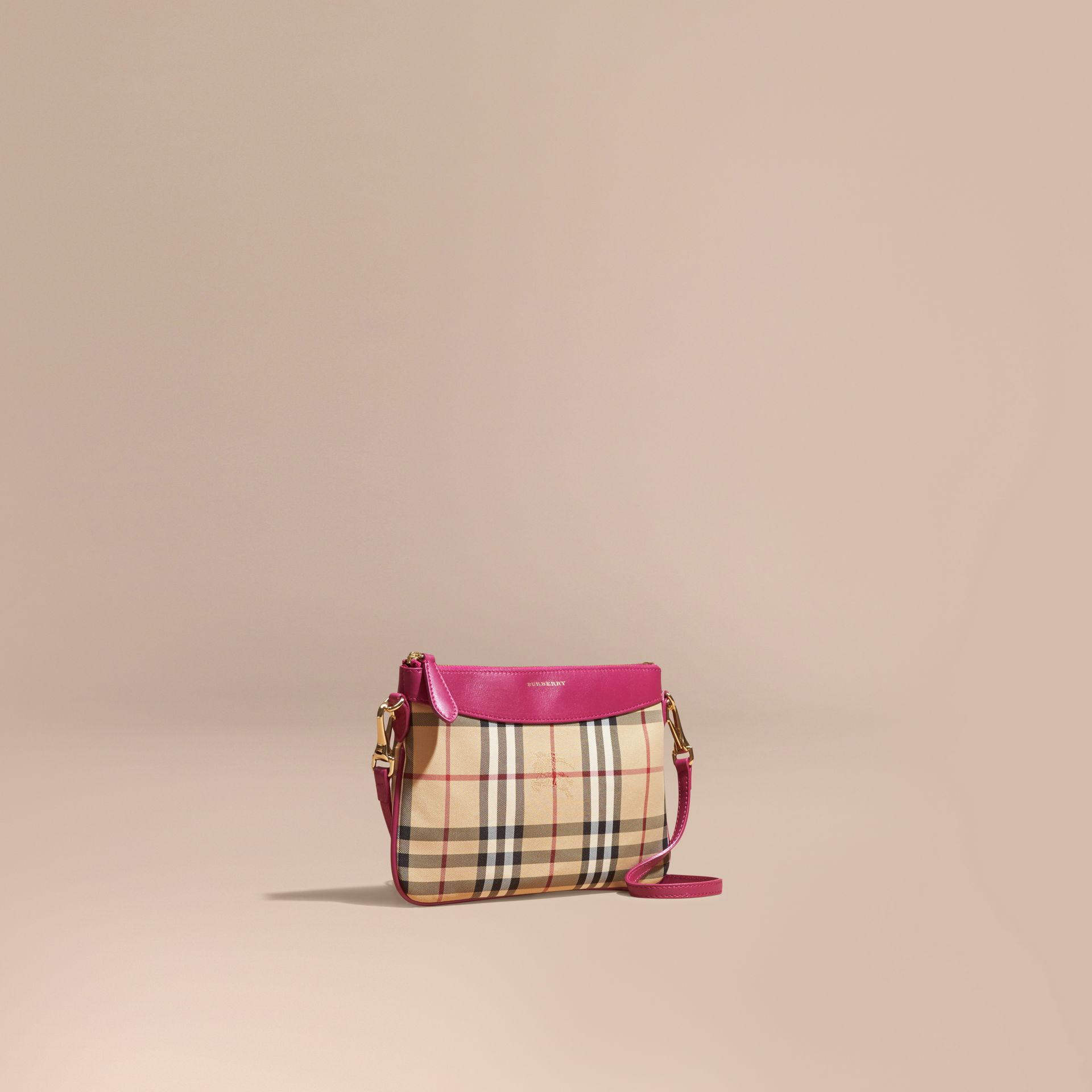 Horseferry Check and Leather Clutch Bag Brilliant Fuchsia - gallery image 1