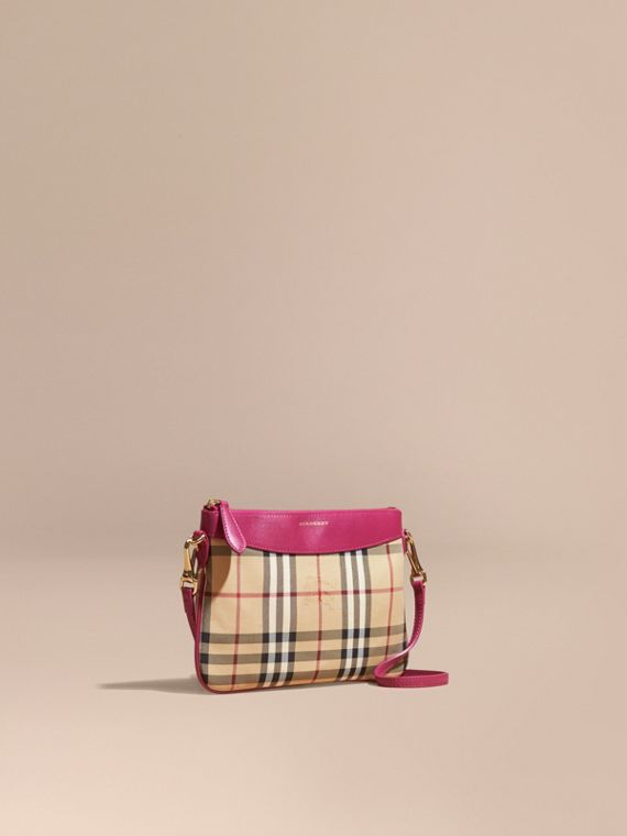 Horseferry Check and Leather Clutch Bag Brilliant Fuchsia