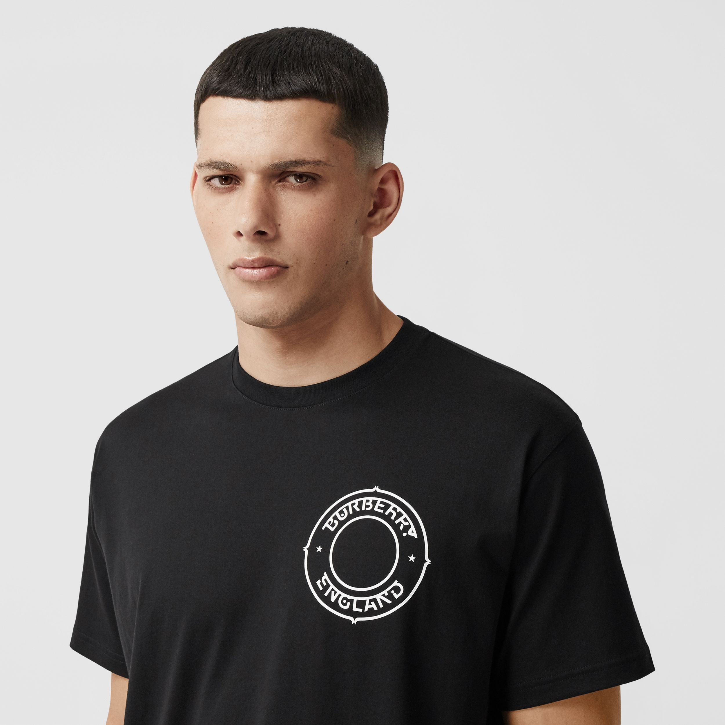 Logo Graphic Print Cotton Oversized T-shirt in Black - Men | Burberry - 3