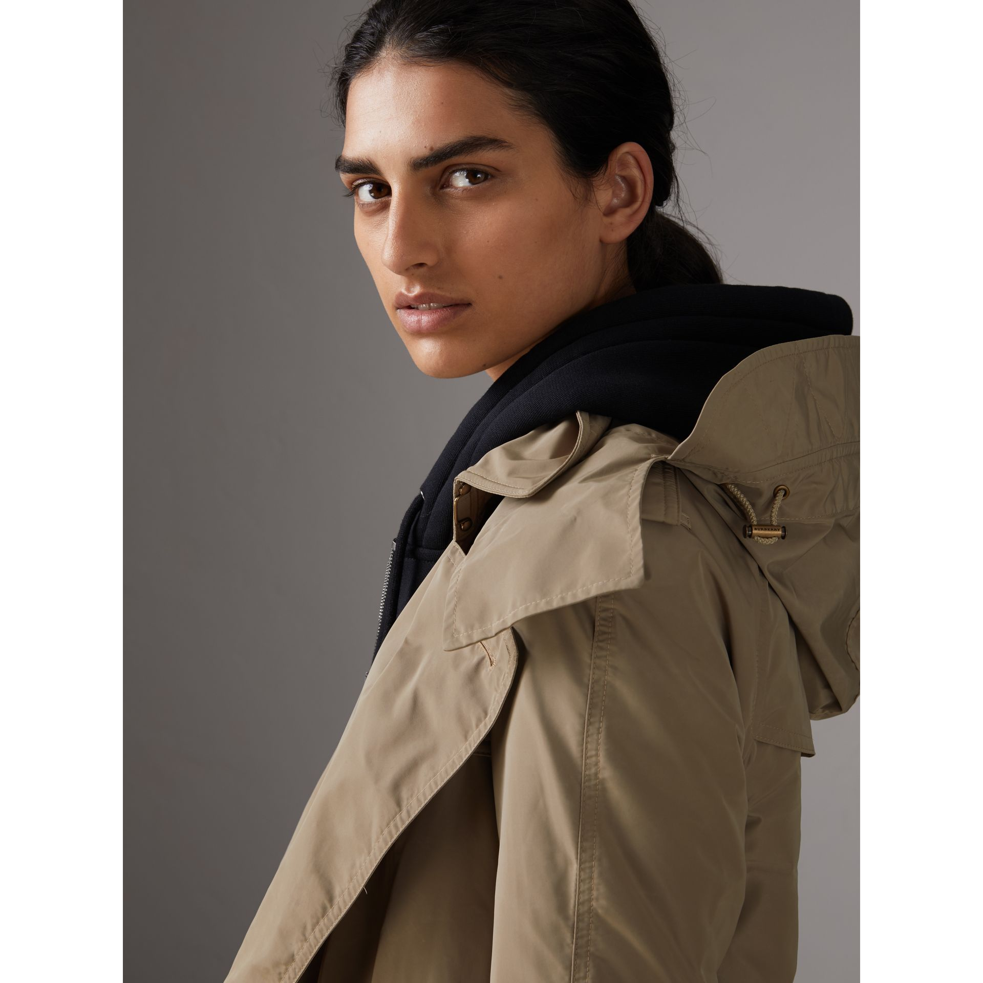 Detachable Hood Taffeta Trench Coat in Sisal - Women | Burberry Canada - gallery image 1