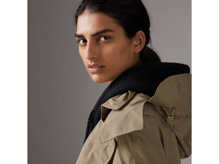 Detachable Hood Taffeta Trench Coat in Sisal - Women | Burberry Australia - cell image 1