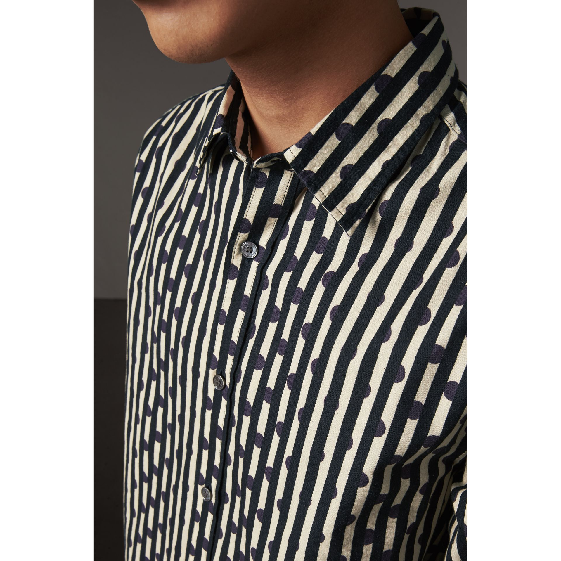 Spot and Stripe Print Cotton Shirt in Navy - Men | Burberry - gallery image 2