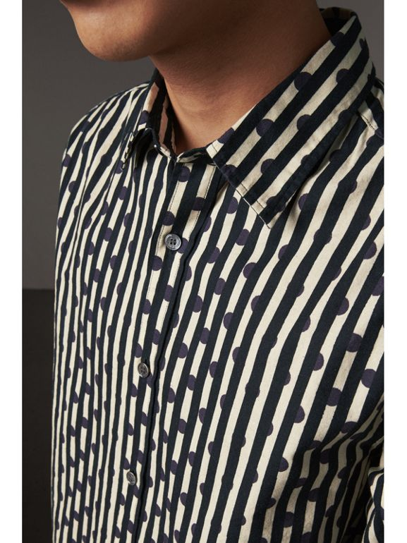 Spot and Stripe Print Cotton Shirt in Navy - Men | Burberry United Kingdom - cell image 1