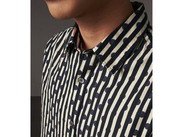 Spot and Stripe Print Cotton Shirt in Navy - Men | Burberry - cell image 1