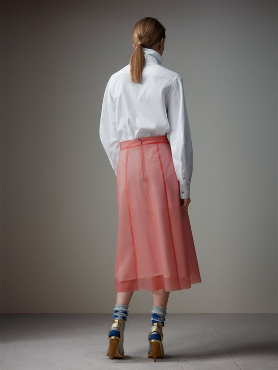 Silk-lined Plastic A-line Skirt in Rose Pink - Women | Burberry Singapore - cell image 2