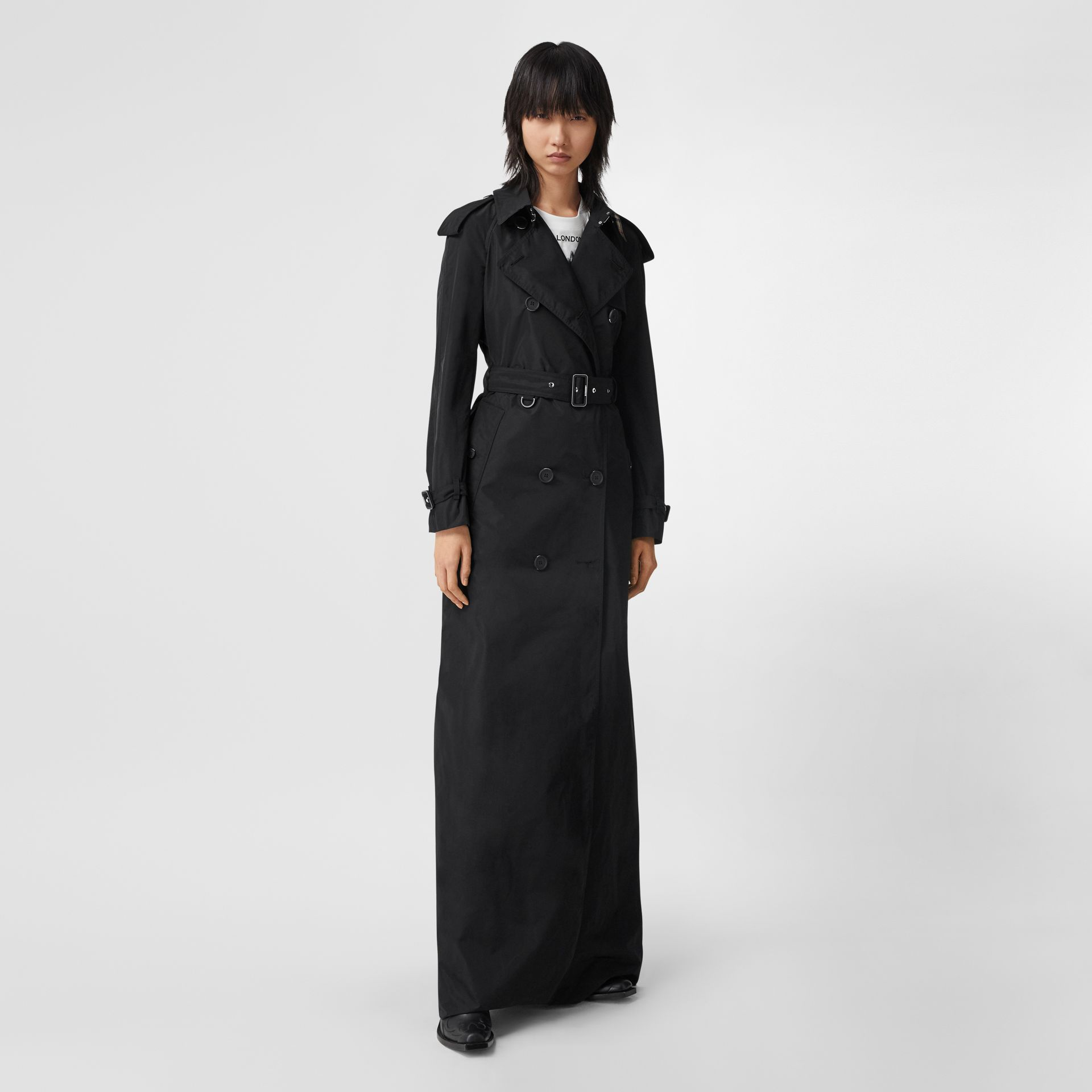 Extra Long Shape-memory Taffeta Trench Coat in Black - Women | Burberry - gallery image 5