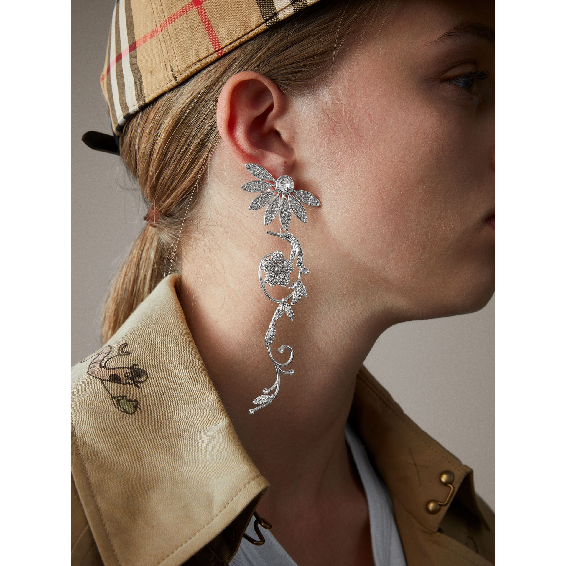 Crystal Half-daisy Drop Earring and Stud Set - Women | Burberry - gallery image 3