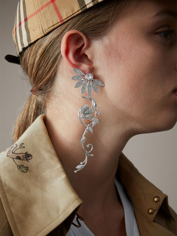 Crystal Half-daisy Drop Earring and Stud Set - Women | Burberry - cell image 2