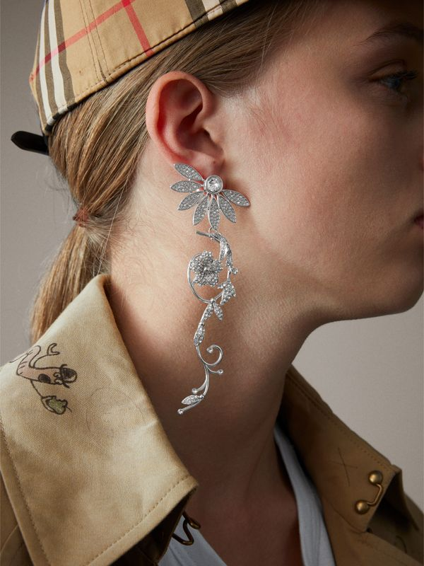 Crystal Half-daisy Drop Earring and Stud Set - Women | Burberry United States - cell image 2