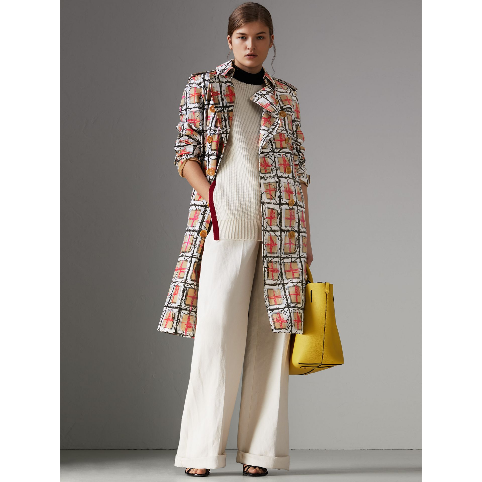 Scribble Check Cotton Trench Coat in White - Women | Burberry United States - gallery image 5