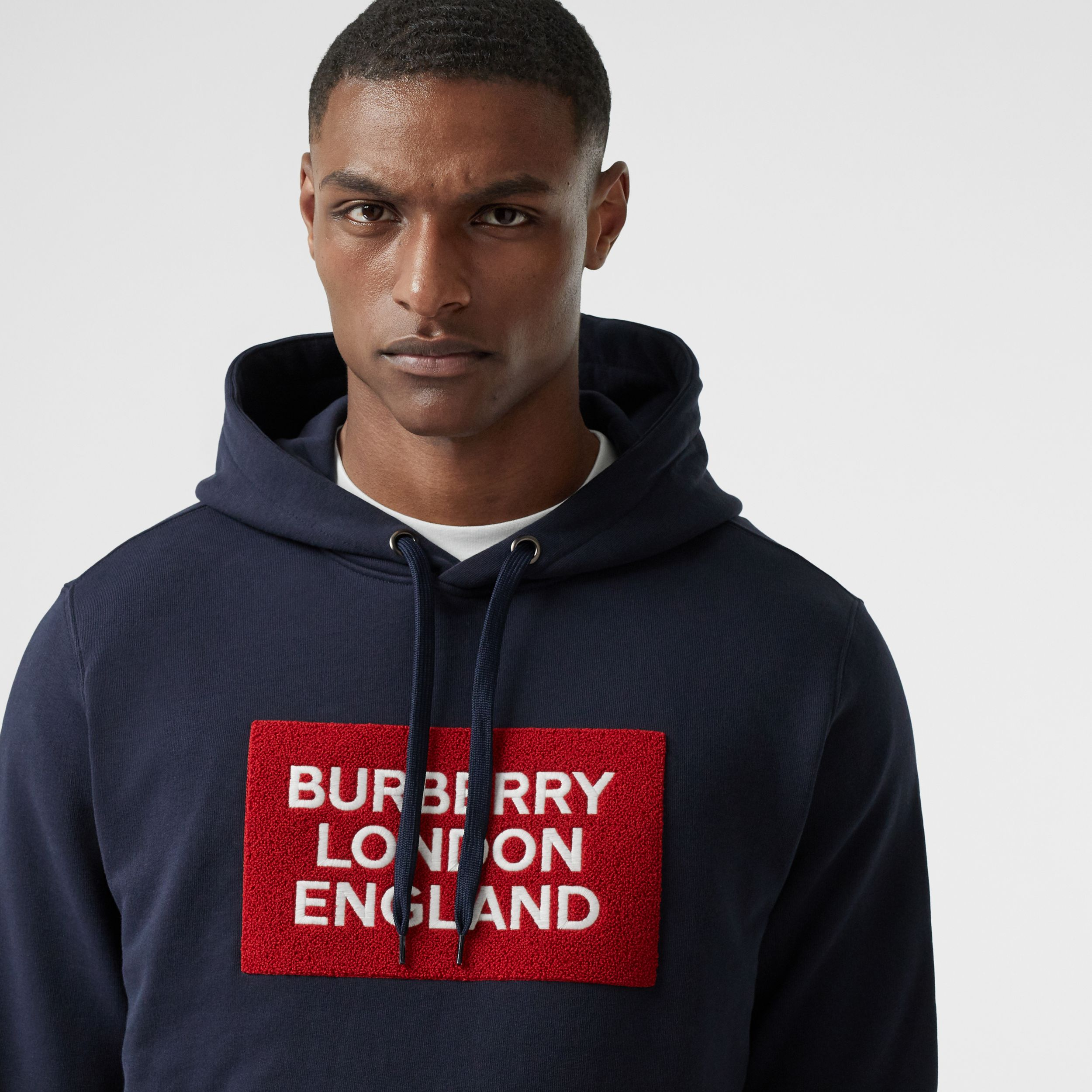 Logo Appliqué Cotton Hoodie in Navy - Men | Burberry - 2