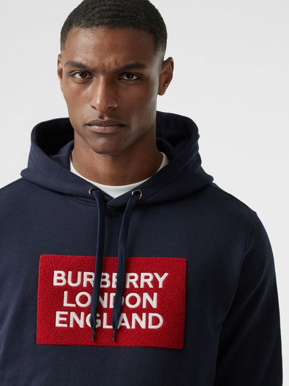 Logo Appliqué Cotton Hoodie in Navy - Men | Burberry - cell image 1