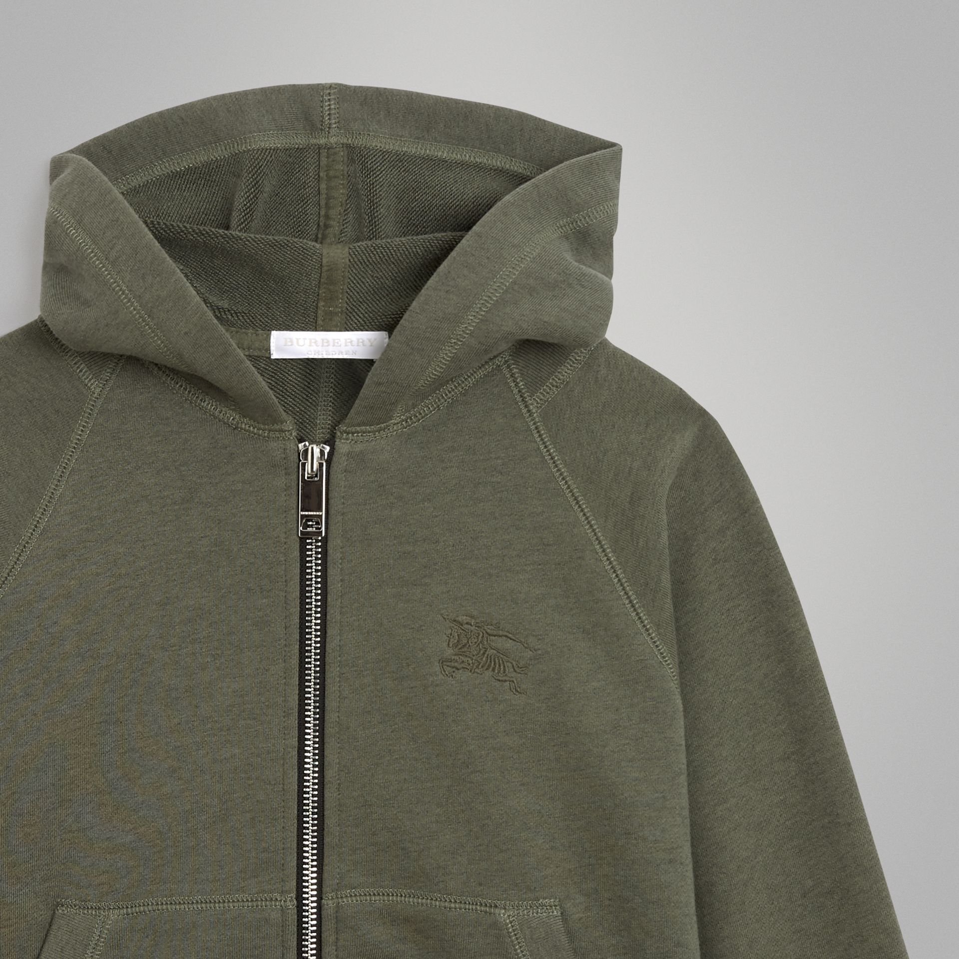 Cotton Jersey Hooded Top in Olive Melange | Burberry - gallery image 4