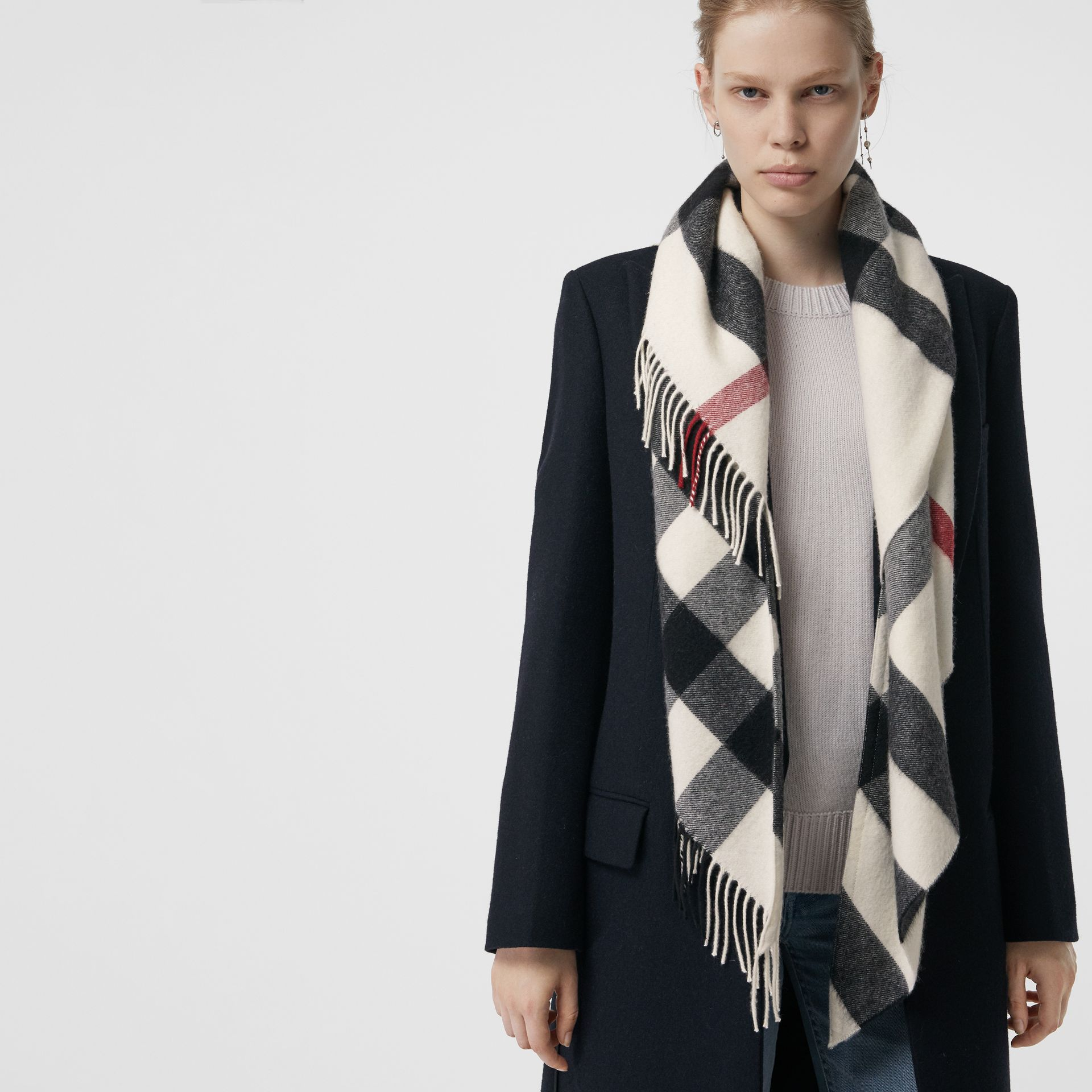 The Burberry Bandana in Check Cashmere in Natural White | Burberry United States - gallery image 5