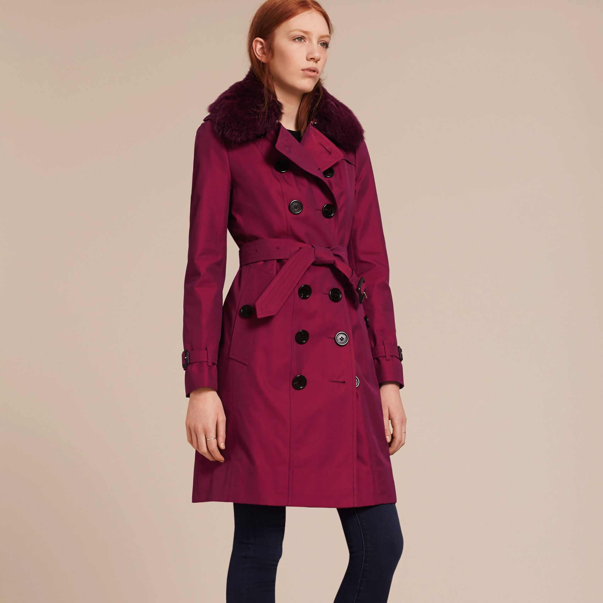 Crimson Cotton Gabardine Trench Coat with Detachable Fur Trim Crimson - gallery image 7