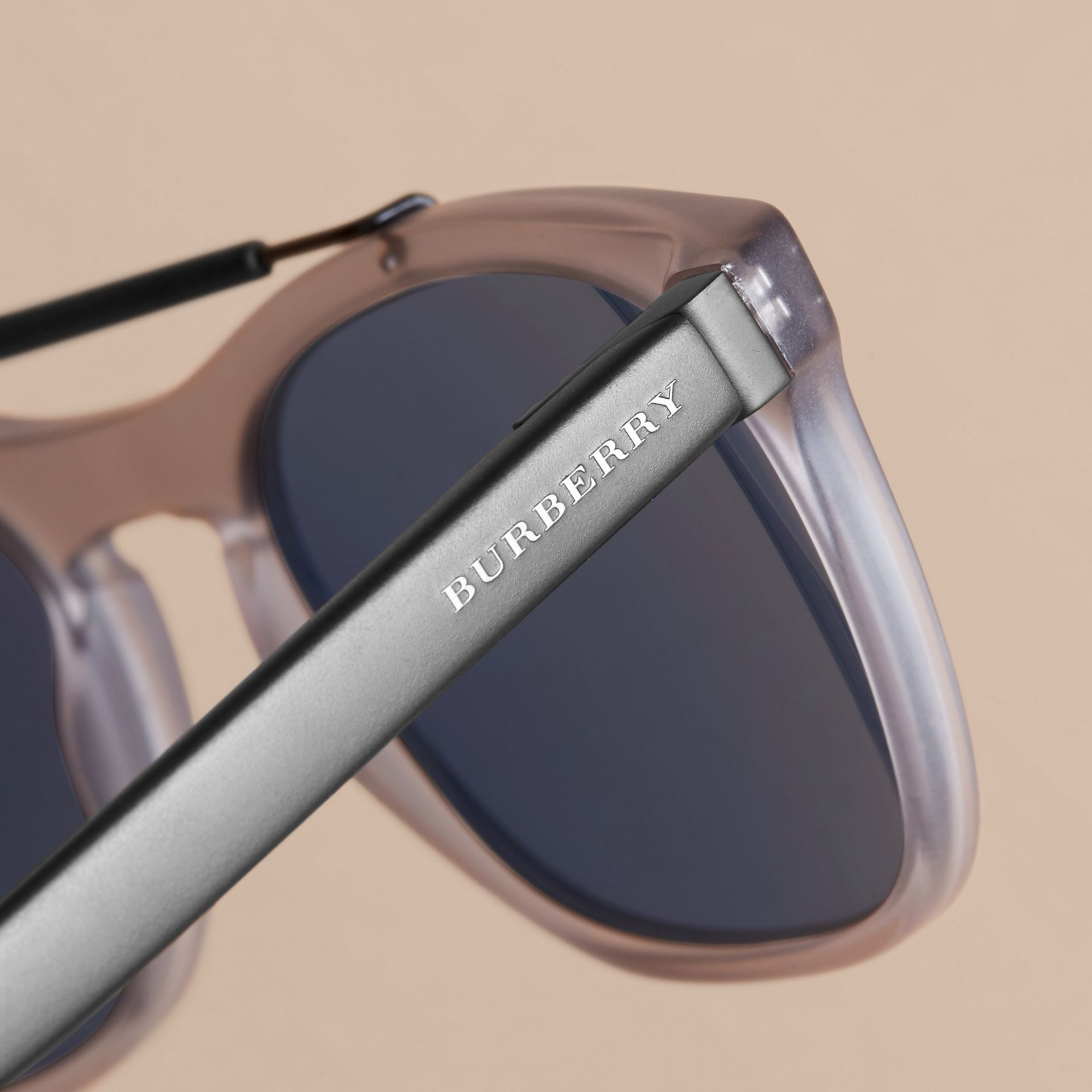 Top Bar Square Frame Sunglasses in Mineral Grey - Men | Burberry Australia - gallery image 2