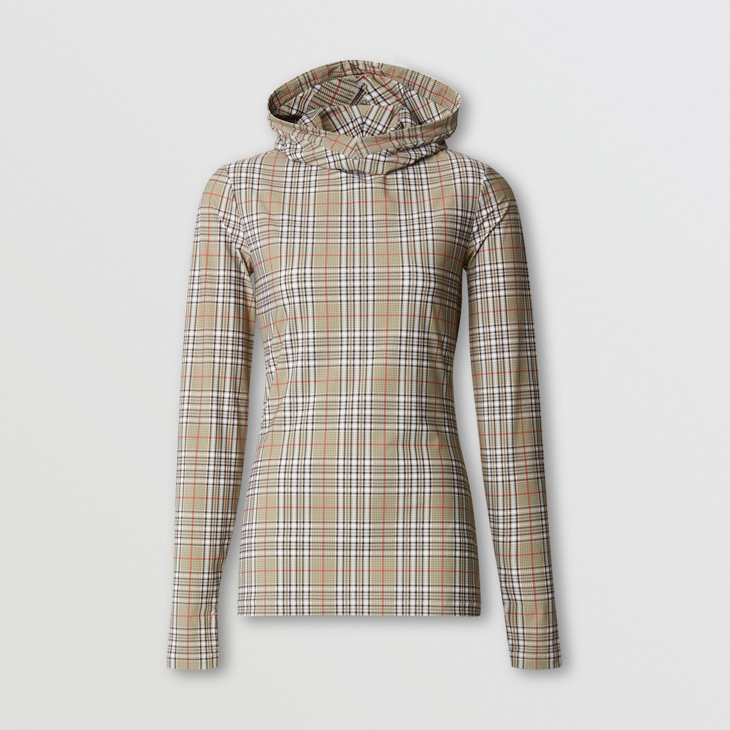 Check Stretch Jersey Hooded Top in Soft Fawn - Women | Burberry Australia - 4