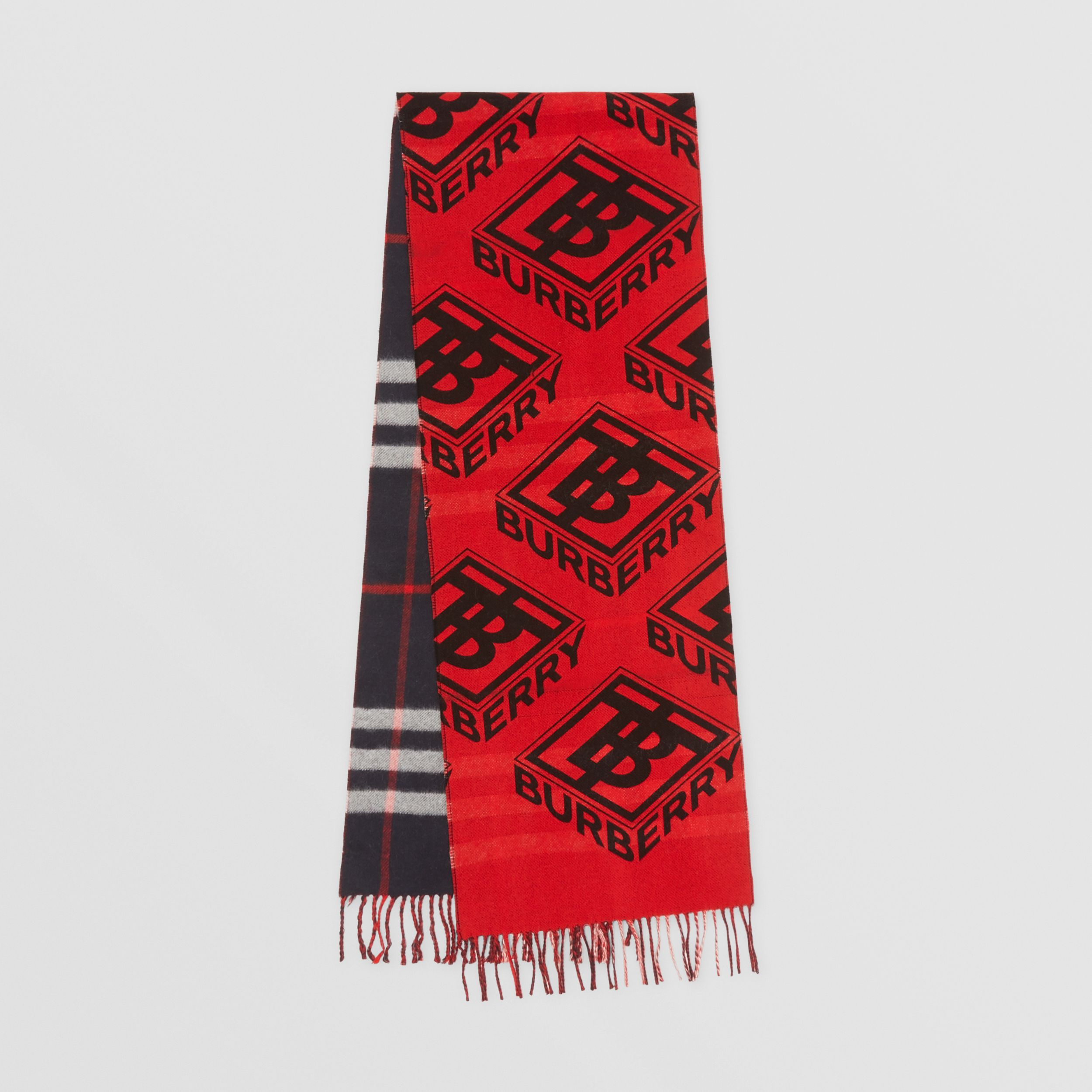 Reversible Check and Logo Graphic Cashmere Scarf in Navy/red | Burberry - 1
