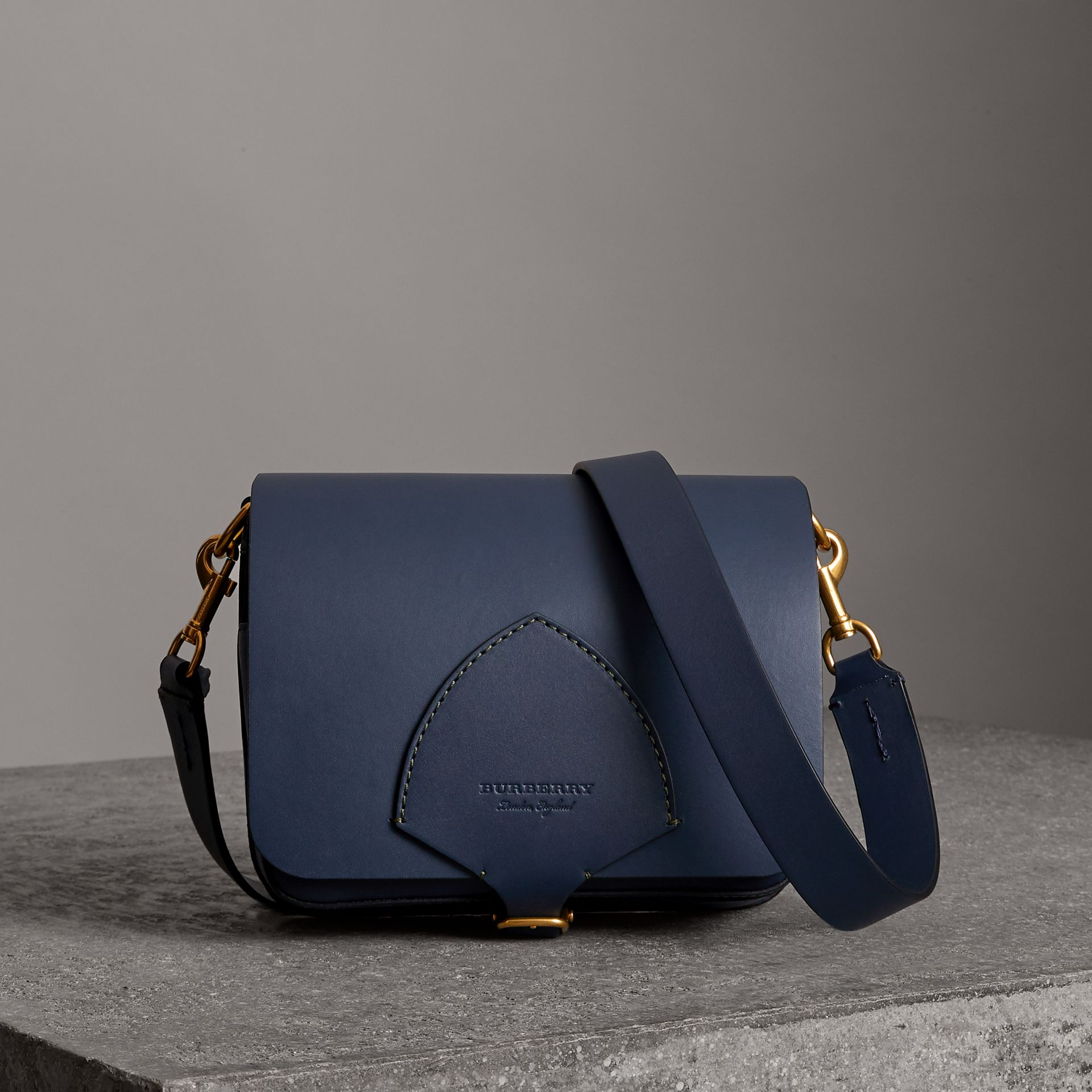 The Medium Square Satchel in Leather in Mid Indigo - Women | Burberry United States - gallery image 0