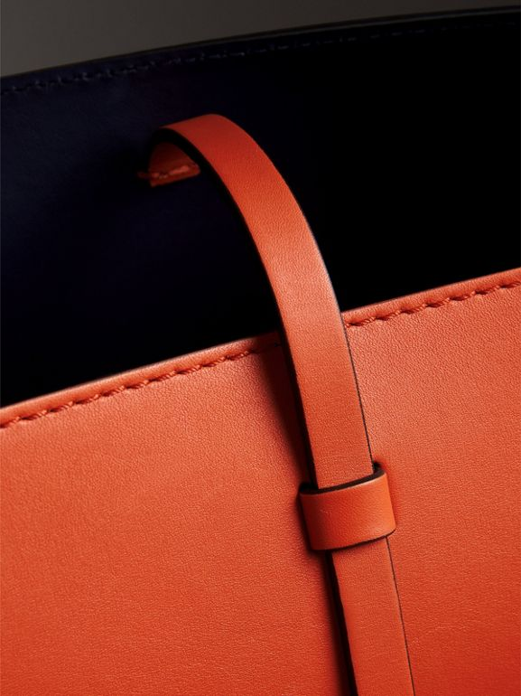 The Small Leather Bucket Bag in Clementine - Women | Burberry - cell image 1