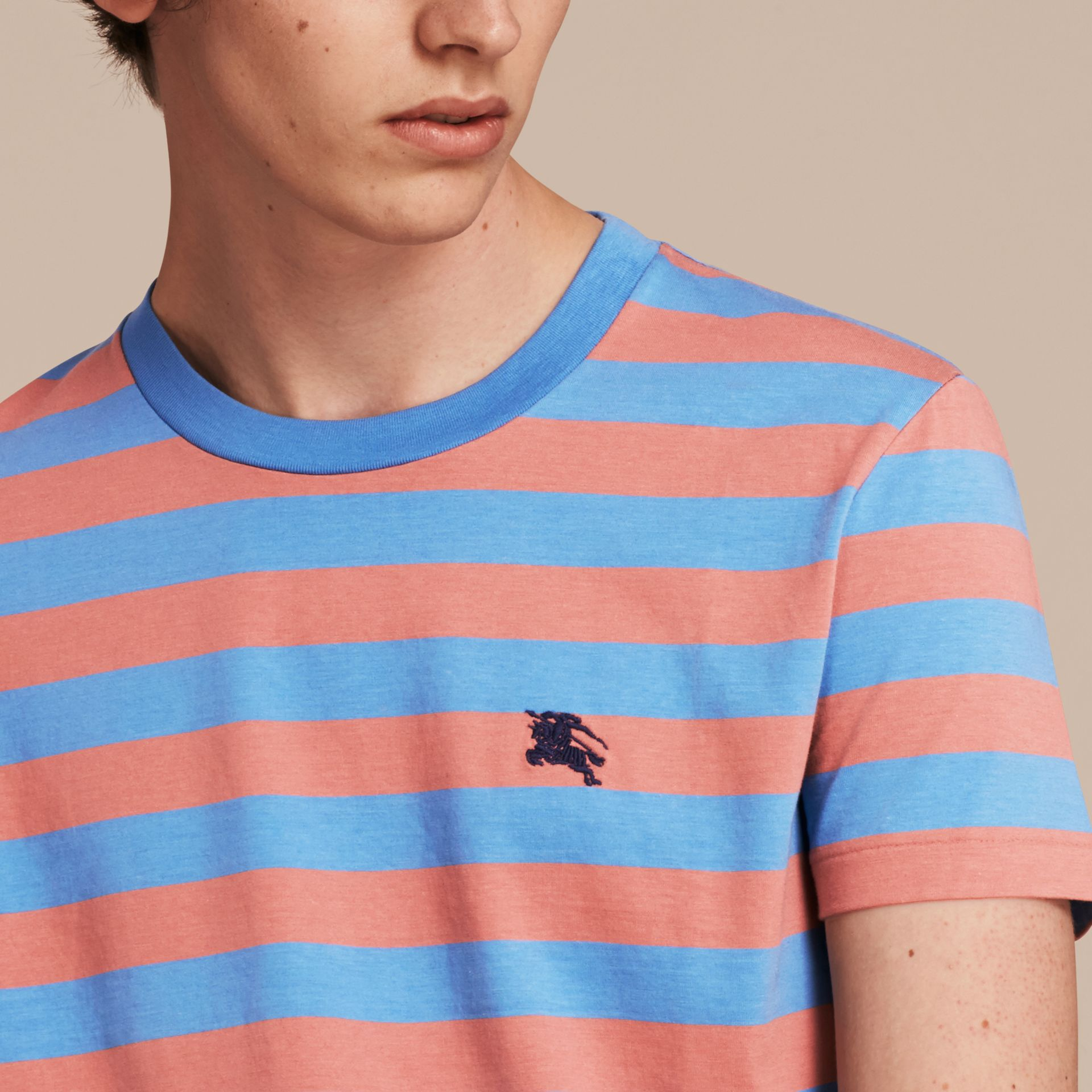 Striped Cotton T-Shirt Rose Pink/chalk Blue - gallery image 5