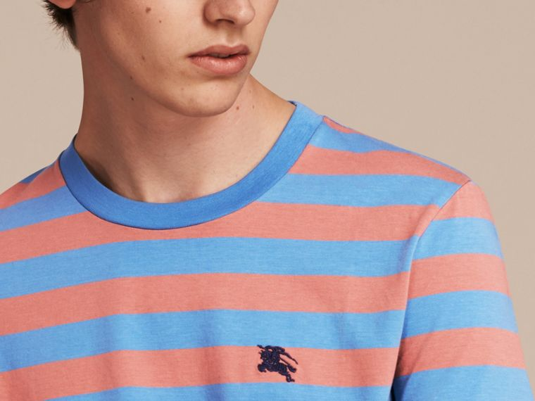 Striped Cotton T-Shirt Rose Pink/chalk Blue - cell image 4