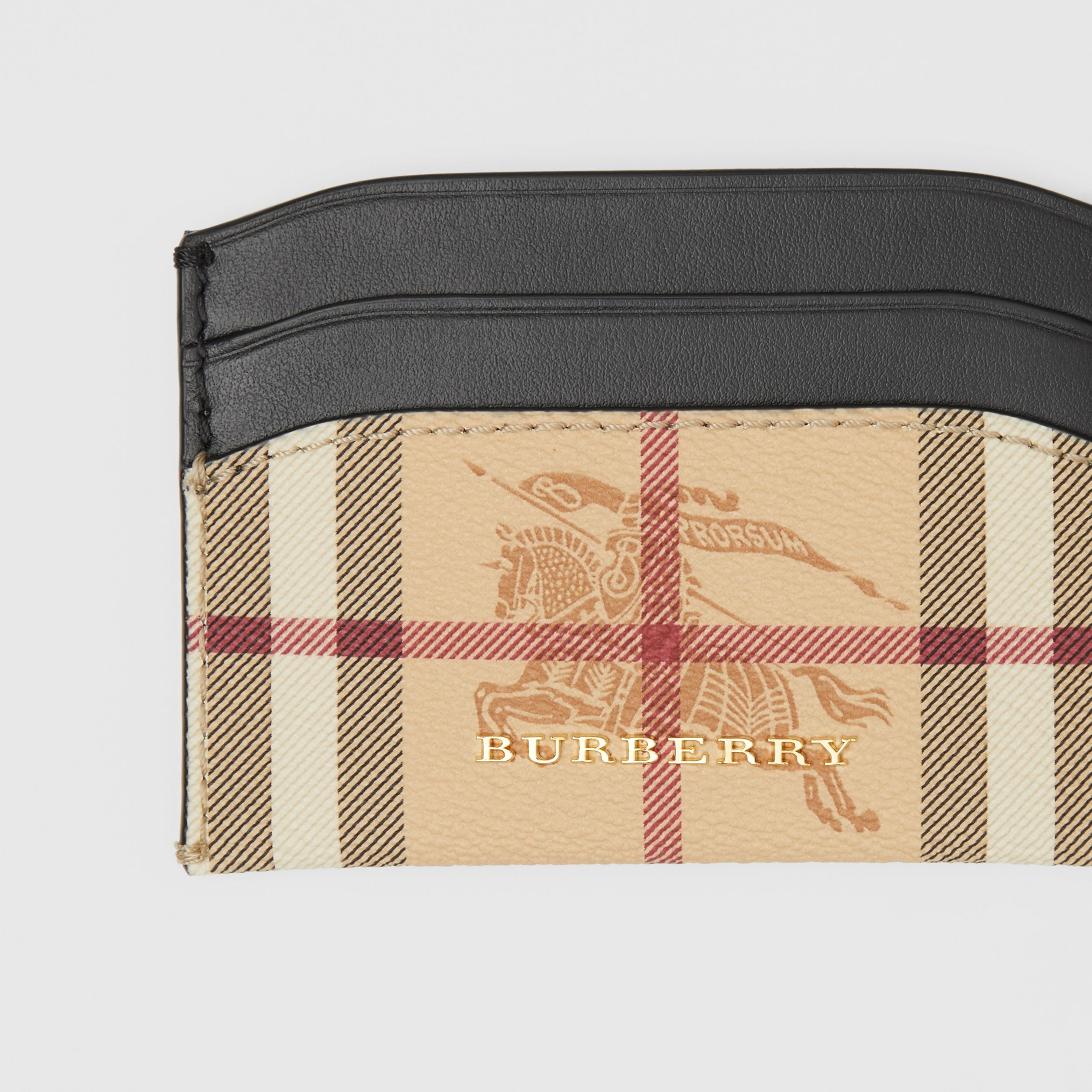 Haymarket Check E-canvas and Leather Card Case in Black - Women | Burberry - 2