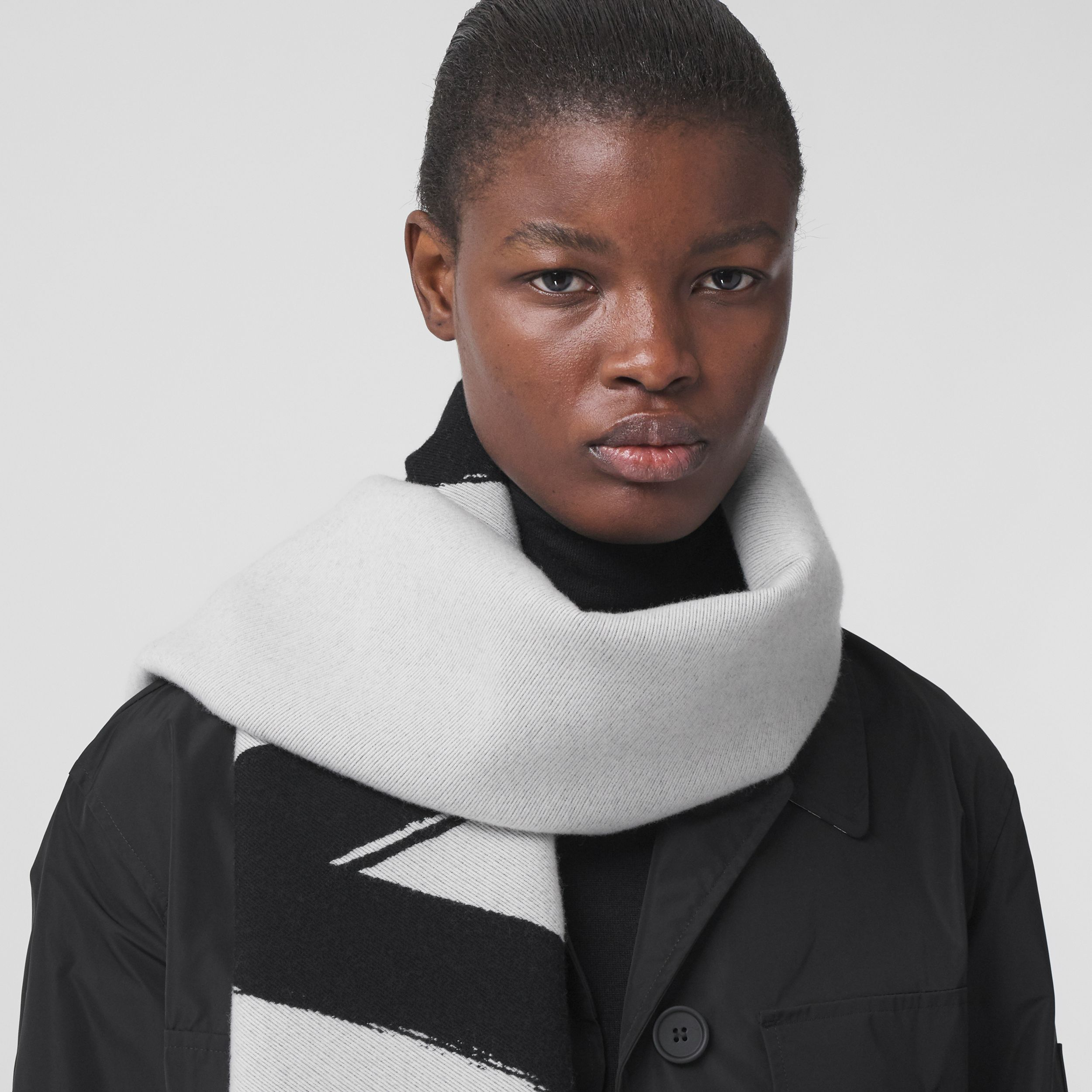 Love and Logo Wool Silk Jacquard Scarf in Black | Burberry - 3