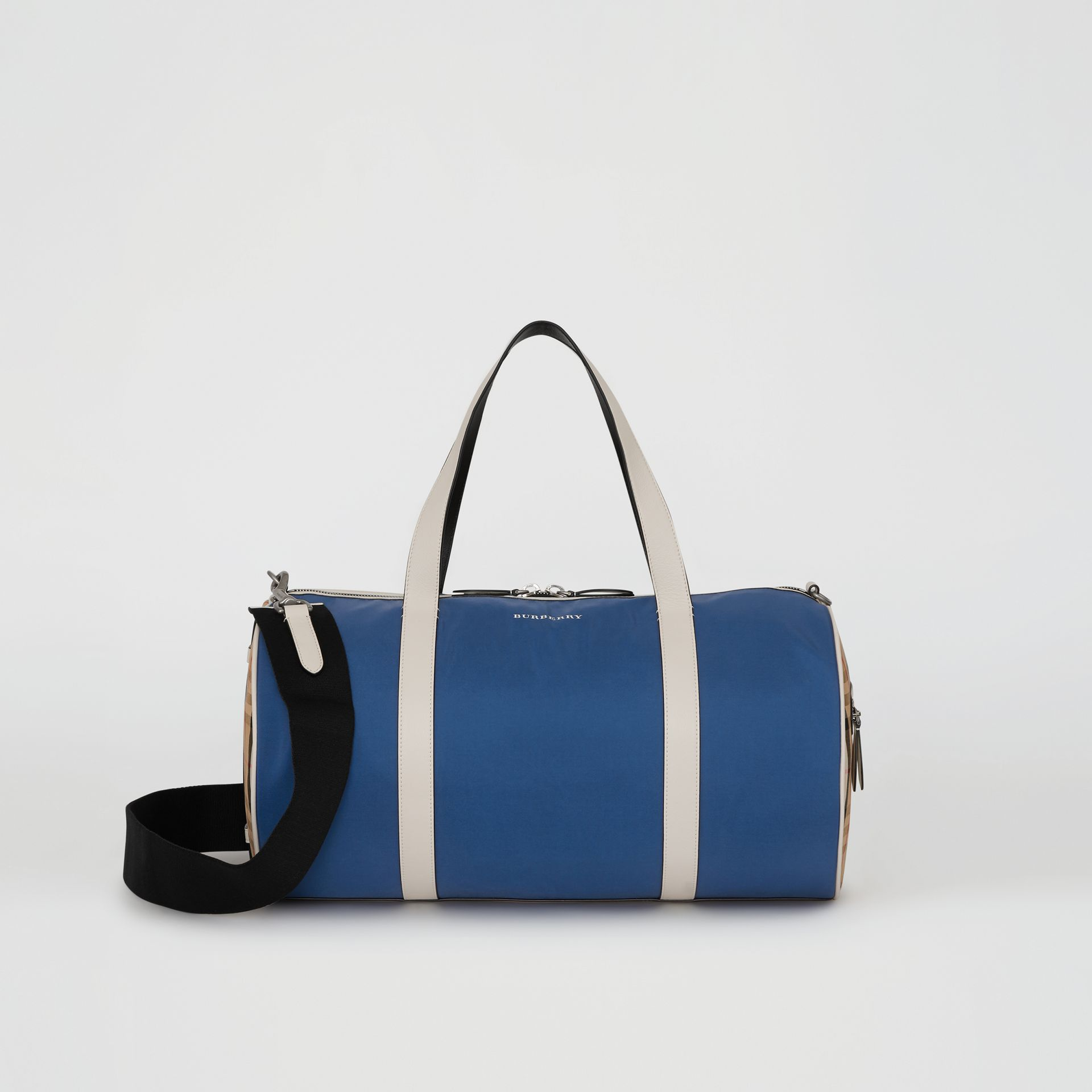 Medium Colour Block Vintage Check Barrel Bag in Dark Canvas Blue - Men | Burberry Singapore - gallery image 0