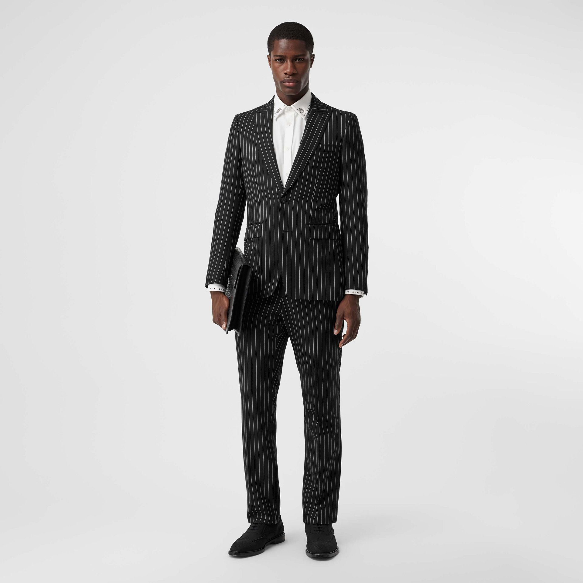 English Fit Pinstriped Wool Suit in Black - Men | Burberry Australia - gallery image 0