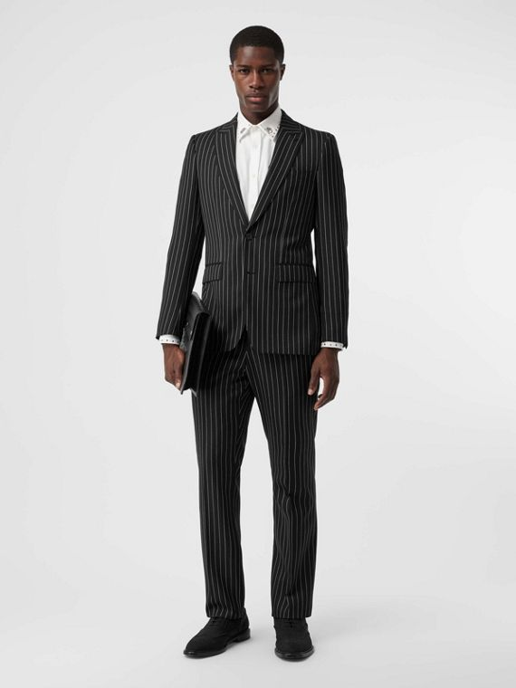 English Fit Pinstriped Wool Suit in Black