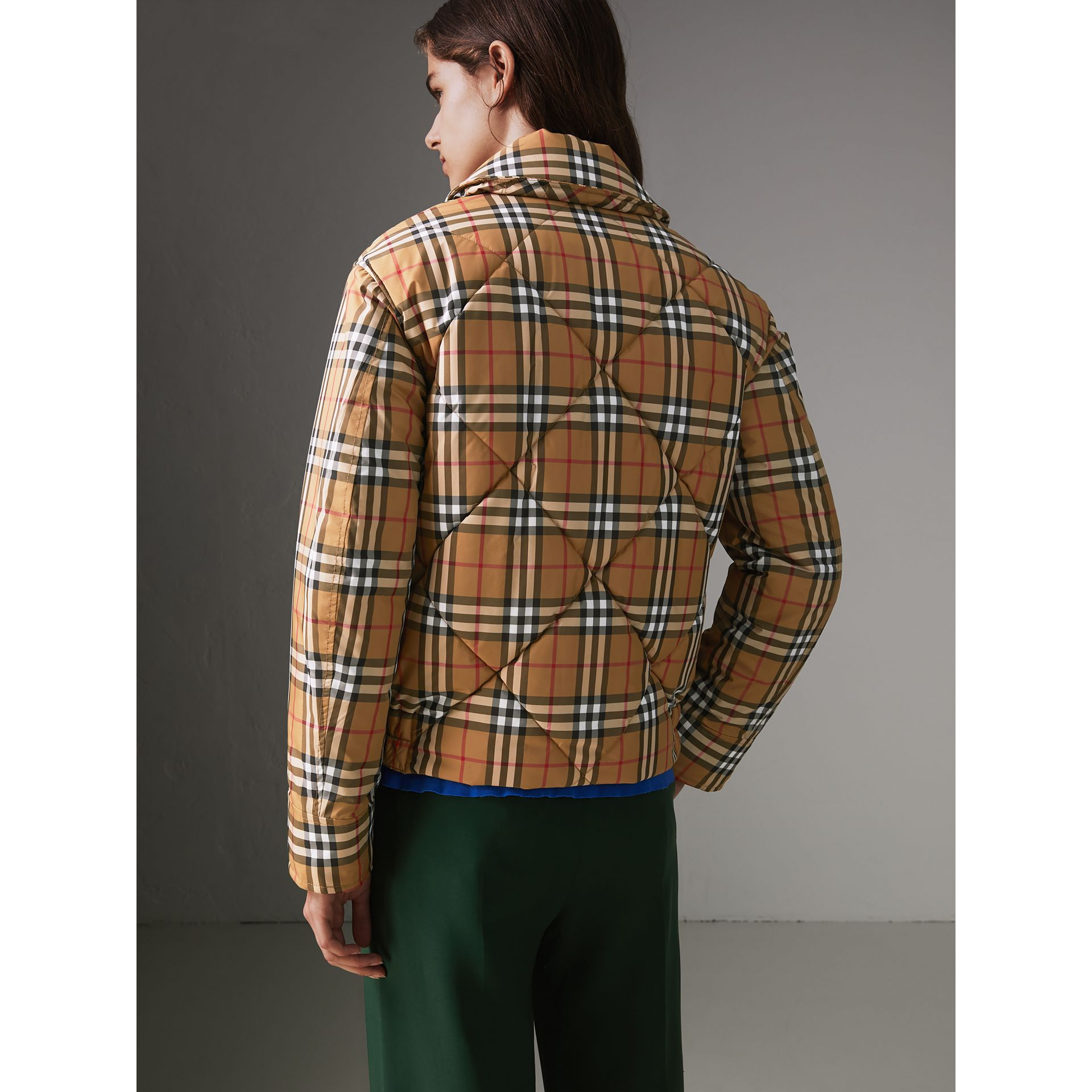 Vintage Check Diamond Quilted Jacket in Antique Yellow - Women | Burberry - gallery image 2