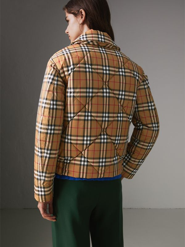 Vintage Check Diamond Quilted Jacket in Antique Yellow - Women | Burberry United Kingdom - cell image 2