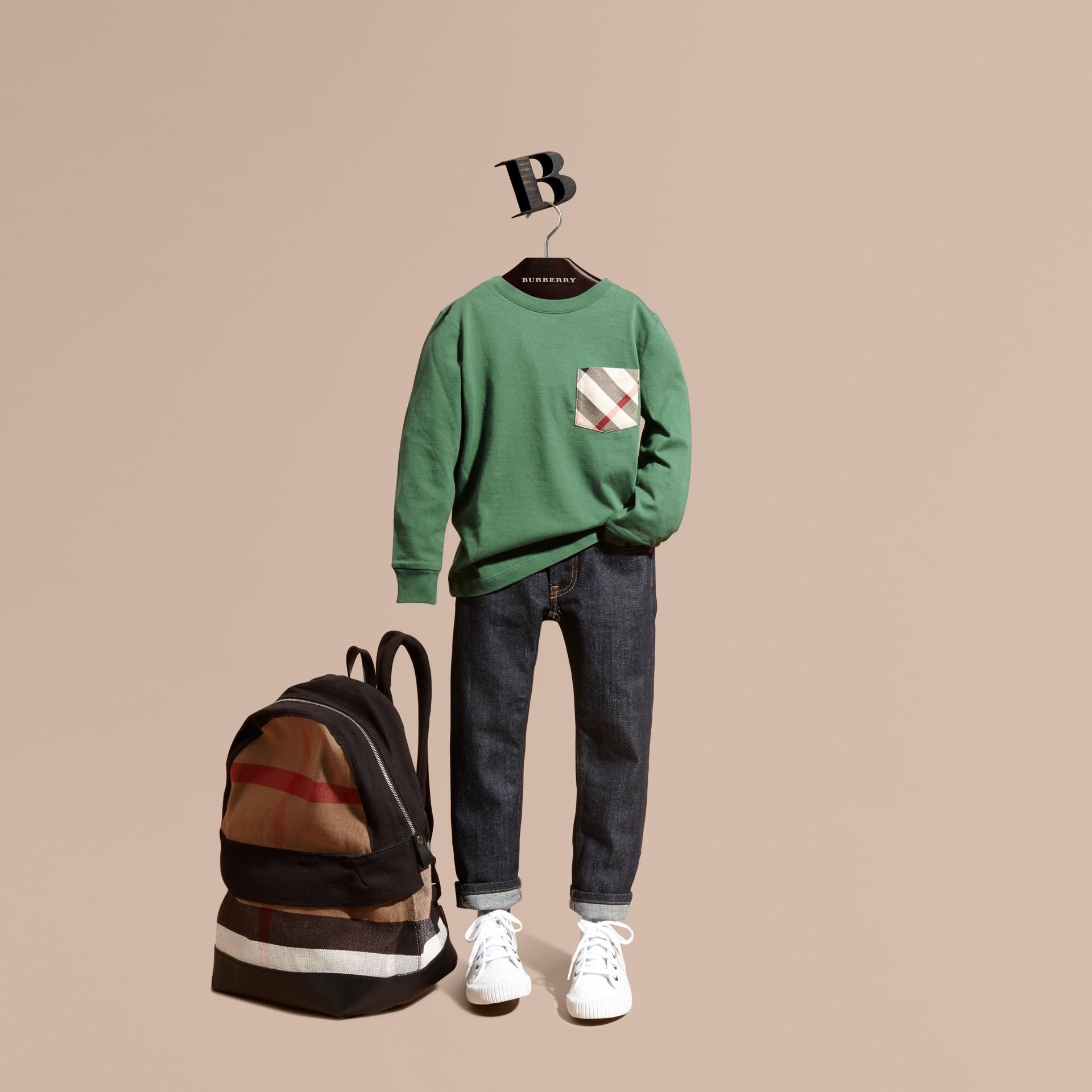 Vert forêt Haut en jersey de coton avec poche à motif check Vert Forêt - photo de la galerie 1
