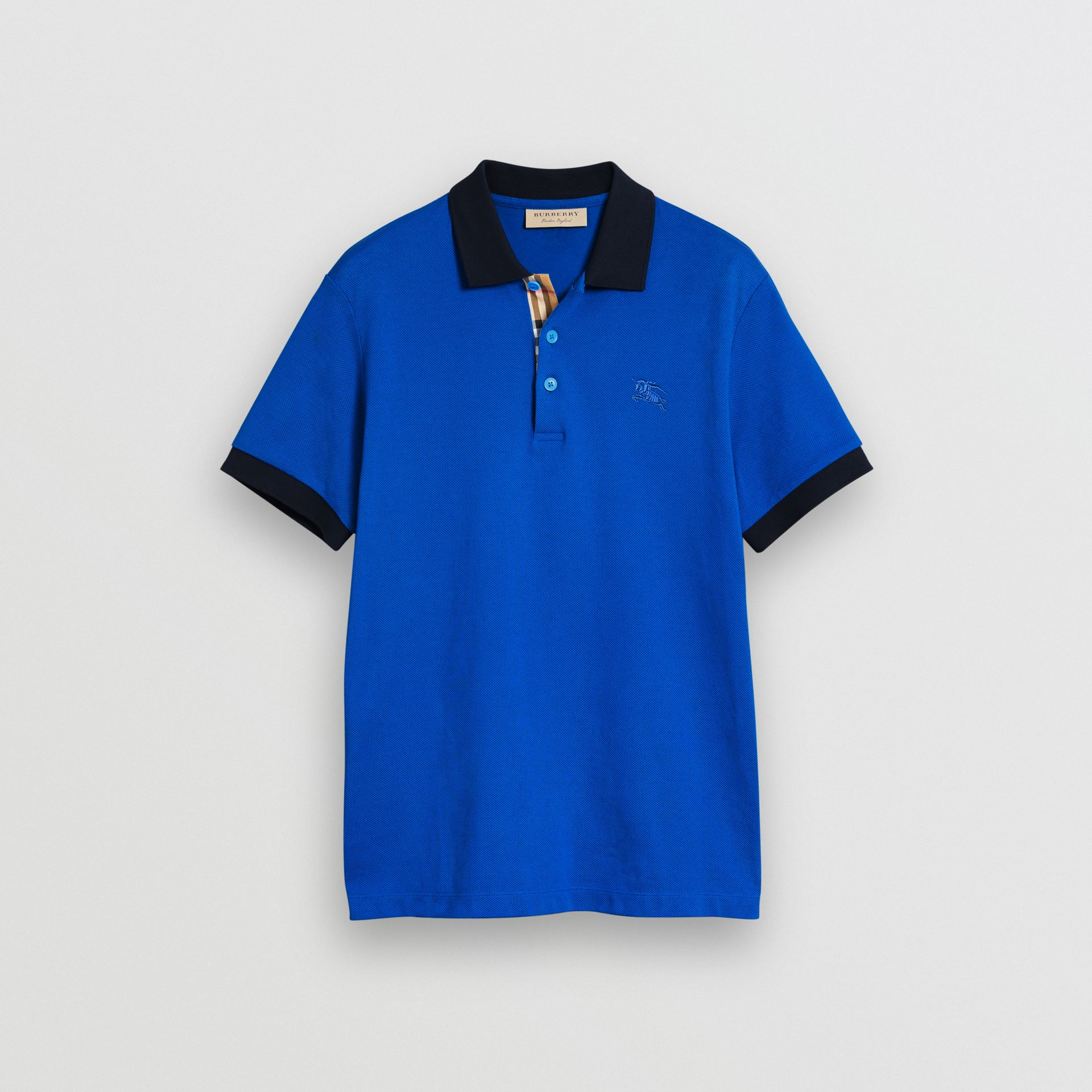Contrast Collar Cotton Polo Shirt in Cerulean Blue - Men | Burberry United Kingdom - gallery image 3