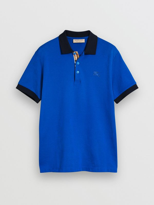 Contrast Collar Cotton Polo Shirt in Cerulean Blue - Men | Burberry - cell image 3