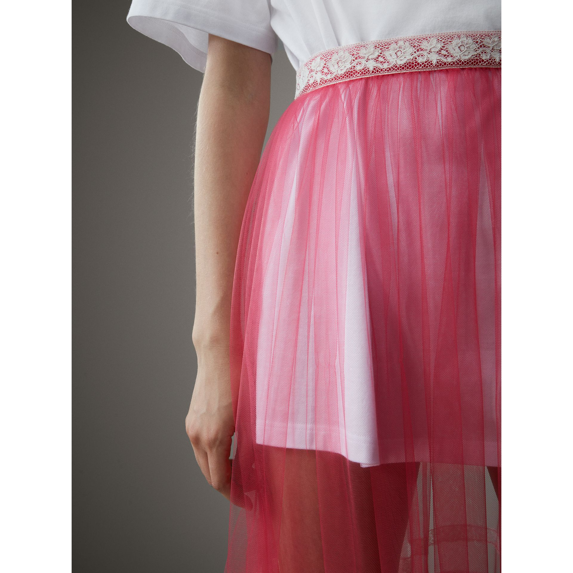 Floor-length English Lace Trim Tulle Skirt in Bright Pink - Women | Burberry United Kingdom - gallery image 1