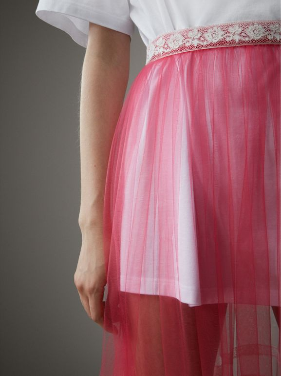 Floor-length English Lace Trim Tulle Skirt in Bright Pink - Women | Burberry - cell image 1