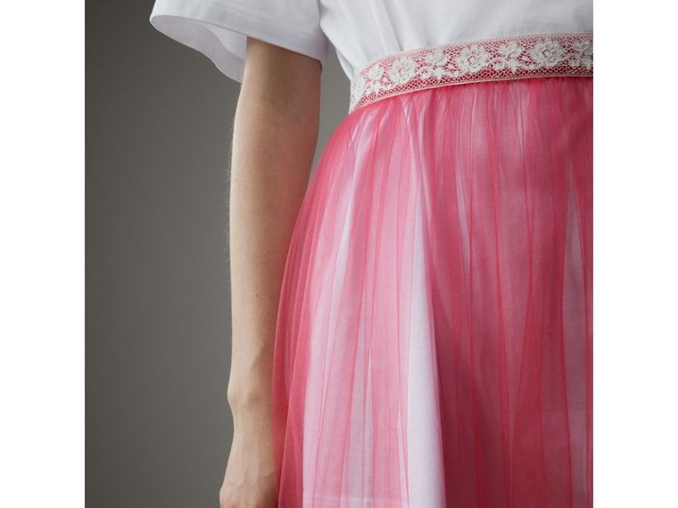Floor-length English Lace Trim Tulle Skirt in Bright Pink - Women | Burberry United Kingdom - cell image 1